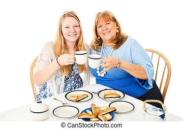 母, パーティー, お茶, 娘