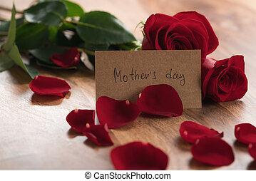 母, ペーパー, 日, テーブル, レッドカード, 木, ばら