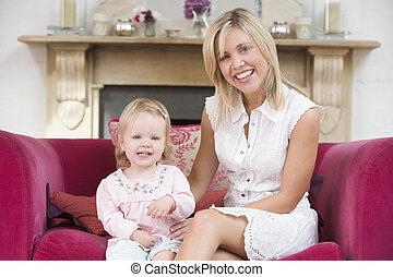 母, 中に, 反響室, ∥で∥, 赤ん坊, 微笑