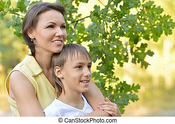 母, 公園, 息子