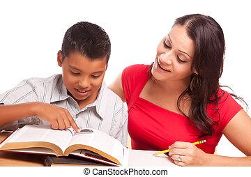 母, 勉強, ヒスパニック, 魅力的, 息子