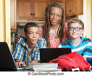 母, 友人, 宿題, 息子
