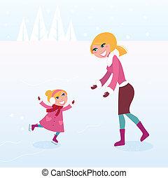 母, 女の子, 氷, 彼女, スケート