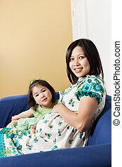 母, 娘, アジア人, 彼女, 妊娠した