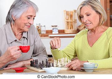 母, 娘, チェス, 遊び