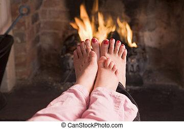 母, 娘, フィート, 暖炉, 暖まること