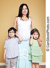 母, 子供, アジア人, 彼女, 妊娠した