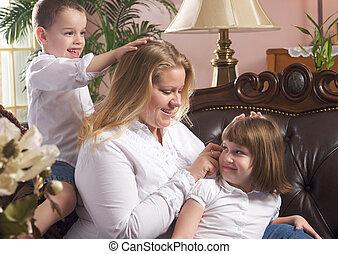 母, 子供, ブラシ, &