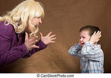 母, 子供, 叫ぶ