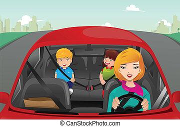 母, 子供, 彼女, 運転