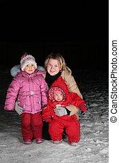 母, 子供, 雪, 夜
