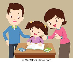 母, 宿題, お父さん, 娘