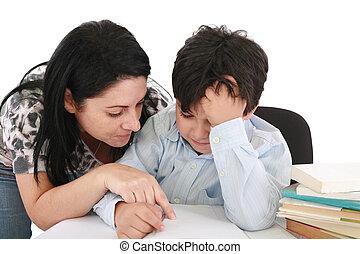 母, 宿題, 屋内, 助力, 息子, 彼女
