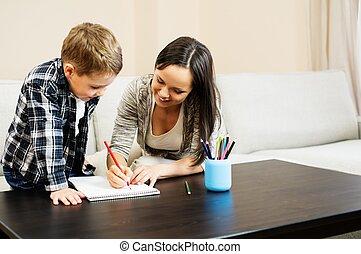 母, 彼女, 図画, 幸せ, 若い, 息子, 内部, 家