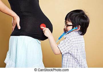 母, 息子, アジア人, 彼女, 妊娠した
