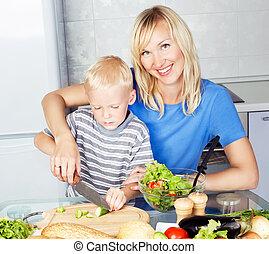 母, 息子, 料理