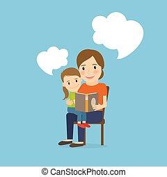 母, 本, 読書, 子供