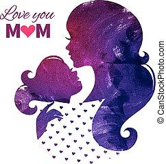 母, 母, day., 幸せ, カード, シルエット, 美しい