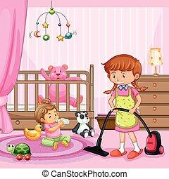 母, 清掃, a, 赤ん坊, 部屋