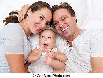 母, 父, 幸せ, 赤ん坊, かわいい, 肖像画, 微笑
