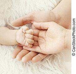 母, 父, 手, parents!, クローズアップ, 手, 赤ん坊, 幸福