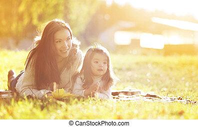 母, 秋, 子供, 肖像画, 草, 日