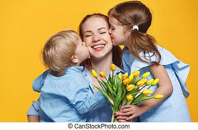 母, 背景, day., 子供, 有色人種, 花, 概念, お母さん