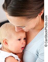 母, 胸, 保有物, 肖像画, 赤ん坊, 終わり