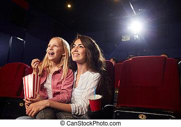 母, 若い, 映画館