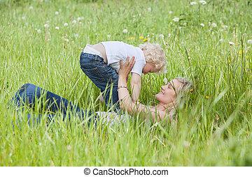 母, 草, 遊び, あること, 息子