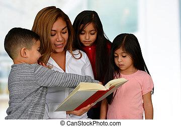 母, 読書, 3, 子供