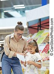 母, 買い物, 若い, 市場, 農夫
