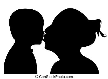 母, 赤ん坊, 接吻, ベクトル, 彼女