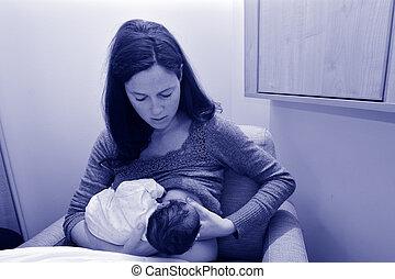 母, breastfeeding, 新生, 彼女