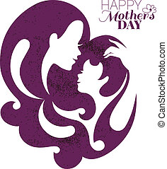 母, day., 幸せ, カード, 母, シルエット, 美しい
