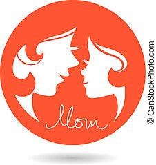母, silhouettes., 母, 赤ん坊, 日, カード, 幸せ