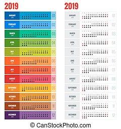 毎年, 週, 立案者, 壁, 始める, year., ベクトル, 2019, sunday., テンプレート, 印刷, ...