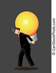 比喩, ビジネス, ライト, イラスト, 届く, ベクトル, 大きい, ビジネスマン, 漫画, 電球