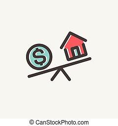 比較しなさい, 交換, お金, 薄くなりなさい, 家, 線, ∥あるいは∥, アイコン