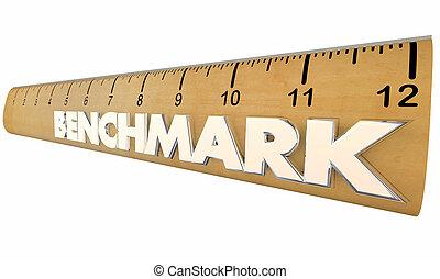比較しなさい, 定規, 基準, 結果, イラスト, 測定, 3d