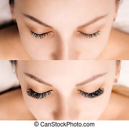 比較, 目, まつげ, extension., after., 女性, 前に