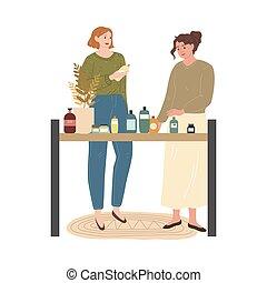 比較, 選択, 店, 家, 化粧品, プロダクト, bodycare, 女の子