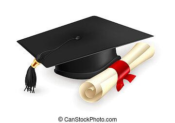 毕业帽子, 同时,, 毕业证书, 矢量