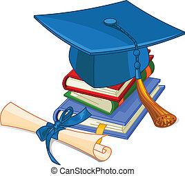 毕业帽子, 同时,, 毕业证书