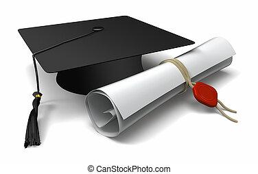 毕业证书, 同时,, 毕业帽子