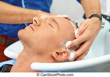 毛の洗浄, salon., shampoo.