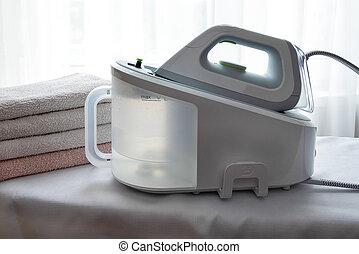 毛巾, 蒸汽, ironed, 光, 電熨斗, surface., 堆, 發電机
