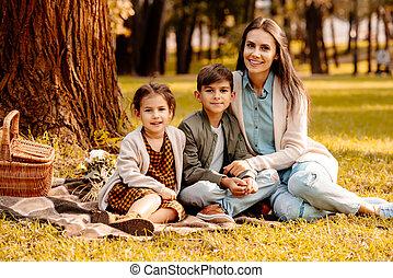 毛布, ピクニック, 子供, お母さん