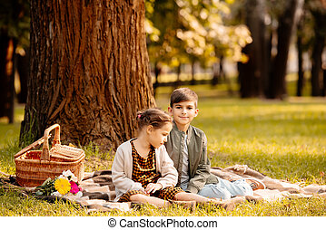 毛布, ピクニック, 子供
