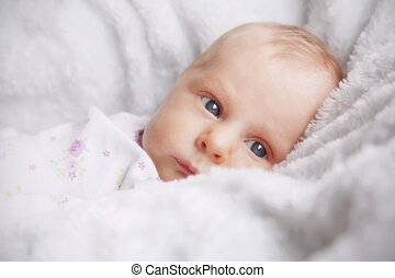 毛布, 新生, 女の子, 白, 赤ん坊